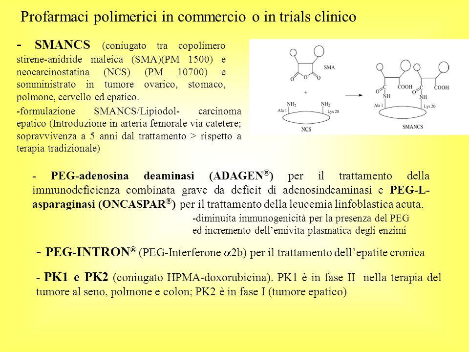 Profarmaci polimerici in commercio o in trials clinico - SMANCS (coniugato tra copolimero stirene-anidride maleica (SMA)(PM 1500) e neocarcinostatina (NCS) (PM 10700) e somministrato in tumore ovarico, stomaco, polmone, cervello ed epatico.