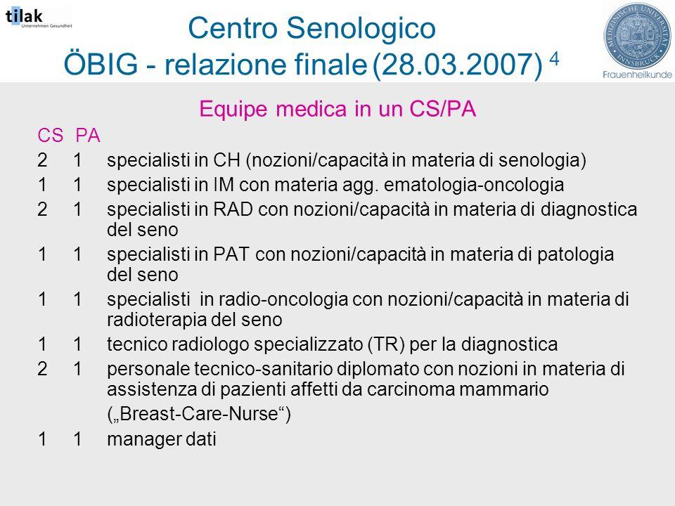 Centro Senologico ÖBIG - relazione finale (28.03.2007) 4 Equipe medica in un CS/PA CS PA 2 1specialisti in CH (nozioni/capacità in materia di senologia) 1 1specialisti in IM con materia agg.