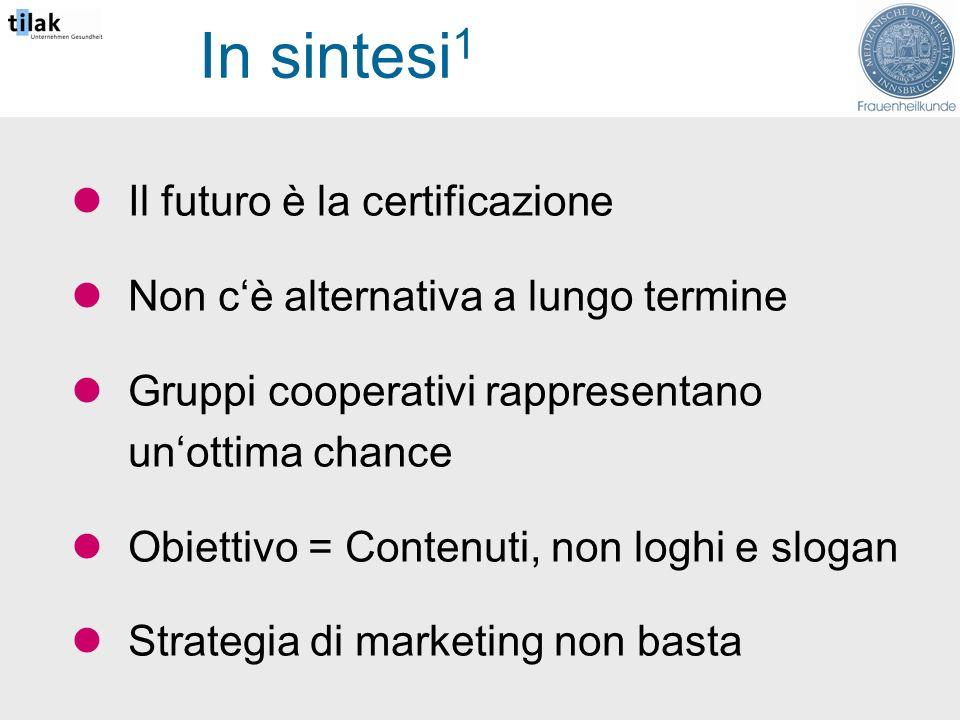 In sintesi 1 Il futuro è la certificazione Non cè alternativa a lungo termine Gruppi cooperativi rappresentano unottima chance Obiettivo = Contenuti, non loghi e slogan Strategia di marketing non basta