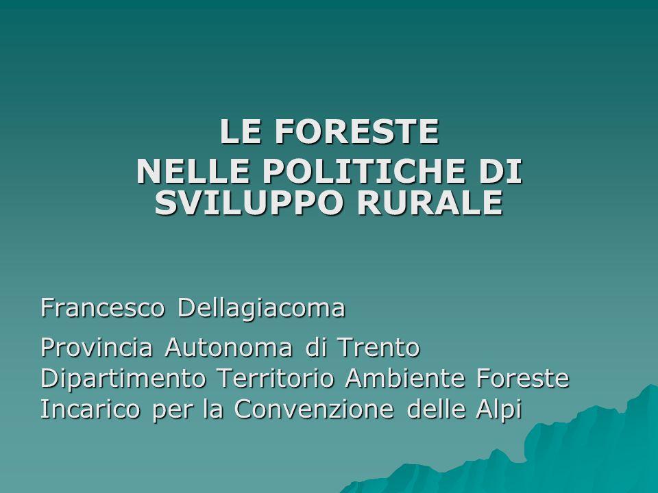 LE FORESTE NELLE POLITICHE DI SVILUPPO RURALE Francesco Dellagiacoma Provincia Autonoma di Trento Dipartimento Territorio Ambiente Foreste Incarico pe