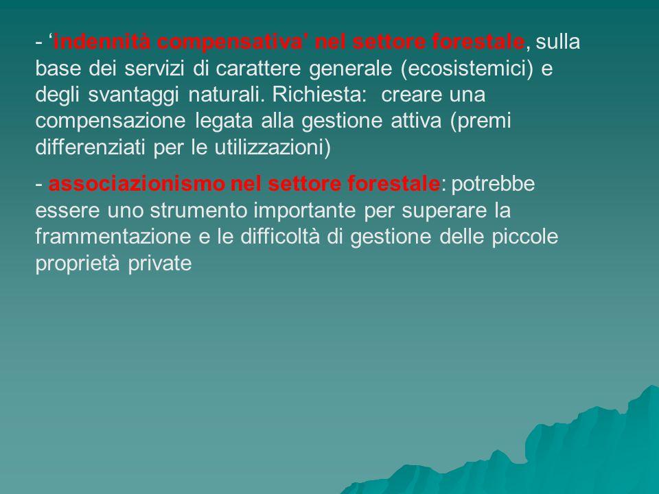 - indennità compensativa nel settore forestale, sulla base dei servizi di carattere generale (ecosistemici) e degli svantaggi naturali. Richiesta: cre