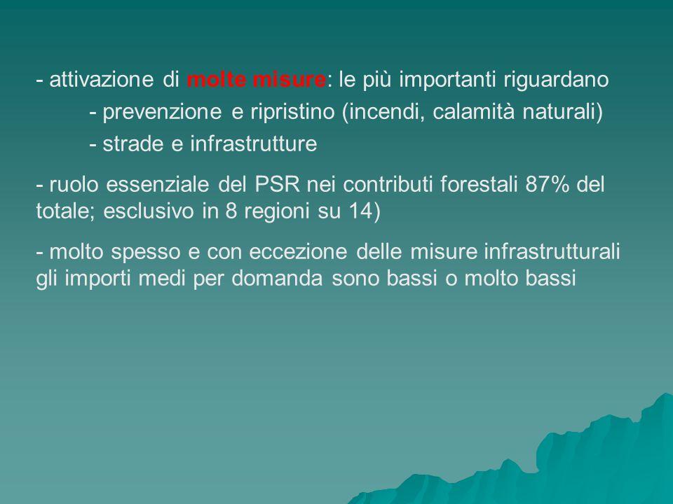- attivazione di molte misure: le più importanti riguardano - prevenzione e ripristino (incendi, calamità naturali) - strade e infrastrutture - ruolo