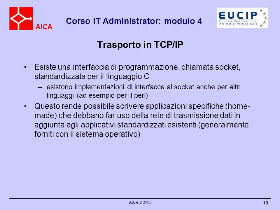 AICA Corso IT Administrator: modulo 4 AICA © 2005 11 Indirizzamento del trasporto in TCP/IP Le applicazioni che utilizzano il TCP/IP si registrano sullo strato di trasporto ad un indirizzo specifico, detto porta La porta e il meccanismo che ha a disposizione una applicazione per identificare lapplicazione remota a cui inviare i dati La porta e un numero di 16 bit (da 1 a 65535; la porta 0 non e utilizzata)