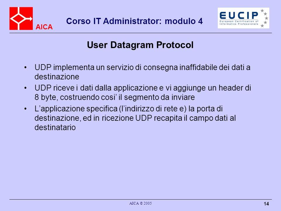 AICA Corso IT Administrator: modulo 4 AICA © 2005 15 User Datagram Protocol UDP non si preoccupa di sapere nulla sul destino del segmento inviato, ne comunica alla applicazione qualsiasi informazione Di fatto costituisce semplicemente una interfaccia ad IP (che fornisce lo stesso tipo di servizio), con laggiunta di fare multiplexing del traffico delle applicazioni su IP –tramite il meccanismo delle porte a cui sono associate le applicazioni, di fatto UDP realizza un multiplexing dei dati delle diverse applicazioni su IP