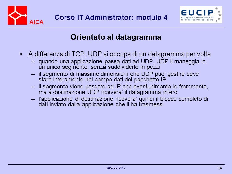 AICA Corso IT Administrator: modulo 4 AICA © 2005 17 Il segmento UDP Il segmento UDP e costituito da un header di lunghezza fissata (8 byte) piu il campo dati, che deve avere dimensione massima tale da stare dentro il campo dati di IP –poiche il pacchetto IP puo essere lungo 65535 byte, il campo dati UDP puo essere lungo al massimo (65535 – 8 – lunghezza header IP) byte