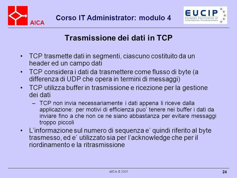 AICA Corso IT Administrator: modulo 4 AICA © 2005 25 Dimensione del segmento TCP Il segmento TCP e costituito da un header di 20 byte (piu campi opzionali, come in IP) seguito dal campo dati La dimensione massima del segmento TCP deve stare nel campo dati di un pacchetto IP –poiche il pacchetto IP ha lunghezza massima 65535 byte, con un header di 20 byte, il campo dati di TCP avra valore massimo 65495 byte (ma in caso di utilizzo di intestazione estesa sara meno)