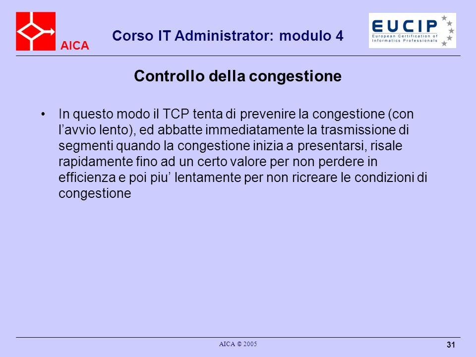 AICA Corso IT Administrator: modulo 4 AICA © 2005 32 Controllo della congestione