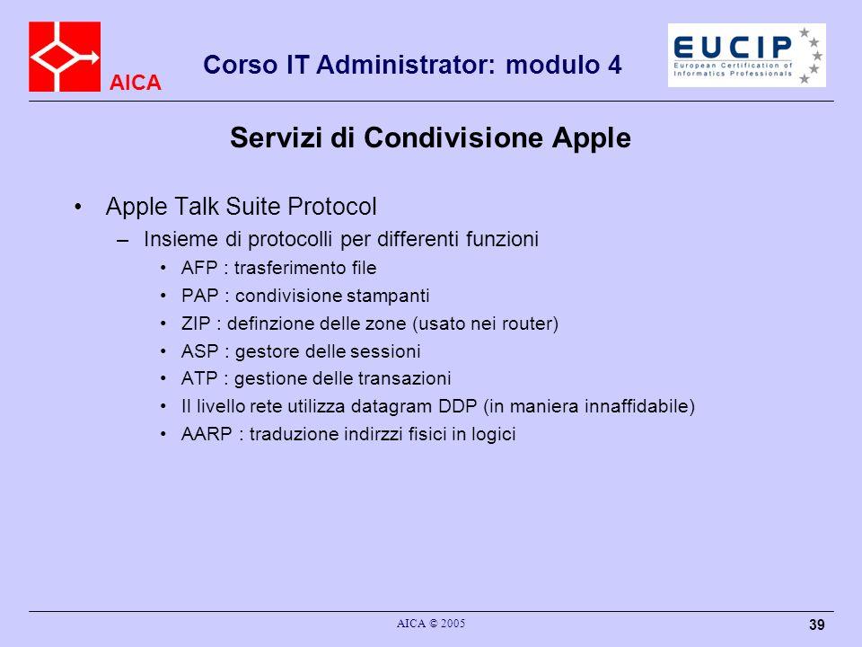 AICA Corso IT Administrator: modulo 4 AICA © 2005 40 Apple Talk Suite Protocol