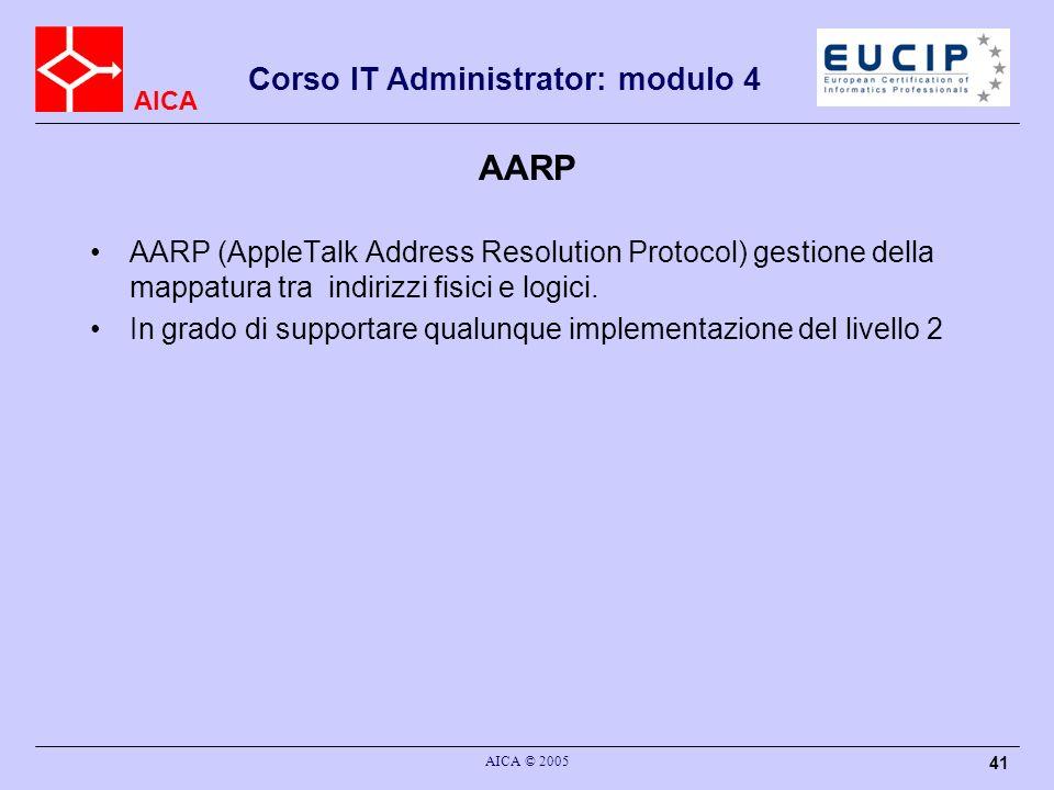 AICA Corso IT Administrator: modulo 4 AICA © 2005 42 DDP The Datagram Delivery Protocol (DDP) : invio di datagram e servizio di routing verso I protcolli di lato livello