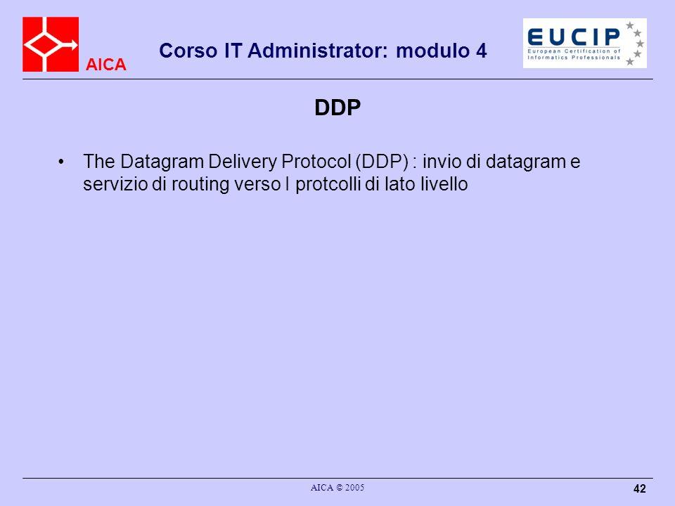 AICA Corso IT Administrator: modulo 4 AICA © 2005 43 RTMP The Routing Table Maintenance Protocol (RTMP) : gestisce le informazioni per eseguire lindirizzamento in una rete apple talk.