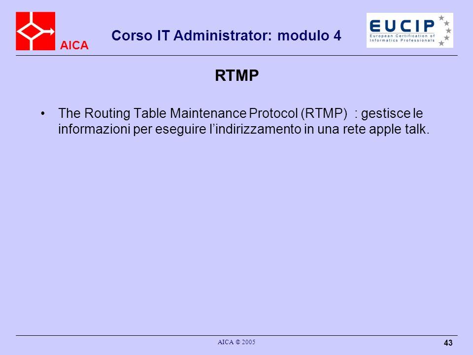 AICA Corso IT Administrator: modulo 4 AICA © 2005 44 AEP The AppleTalk Echo Protocol (AEP) : servizio di echo