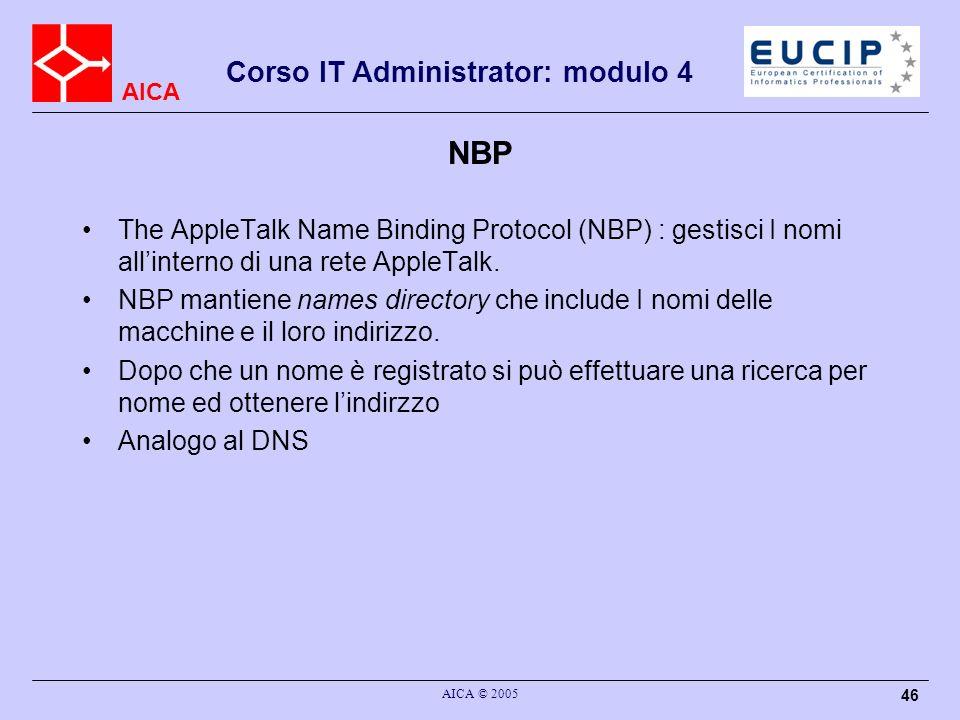 AICA Corso IT Administrator: modulo 4 AICA © 2005 47 ZIP The AppleTalk Zone Information Protocol (ZIP) : gestisce le relazioni tra segmenti di reti e zone.