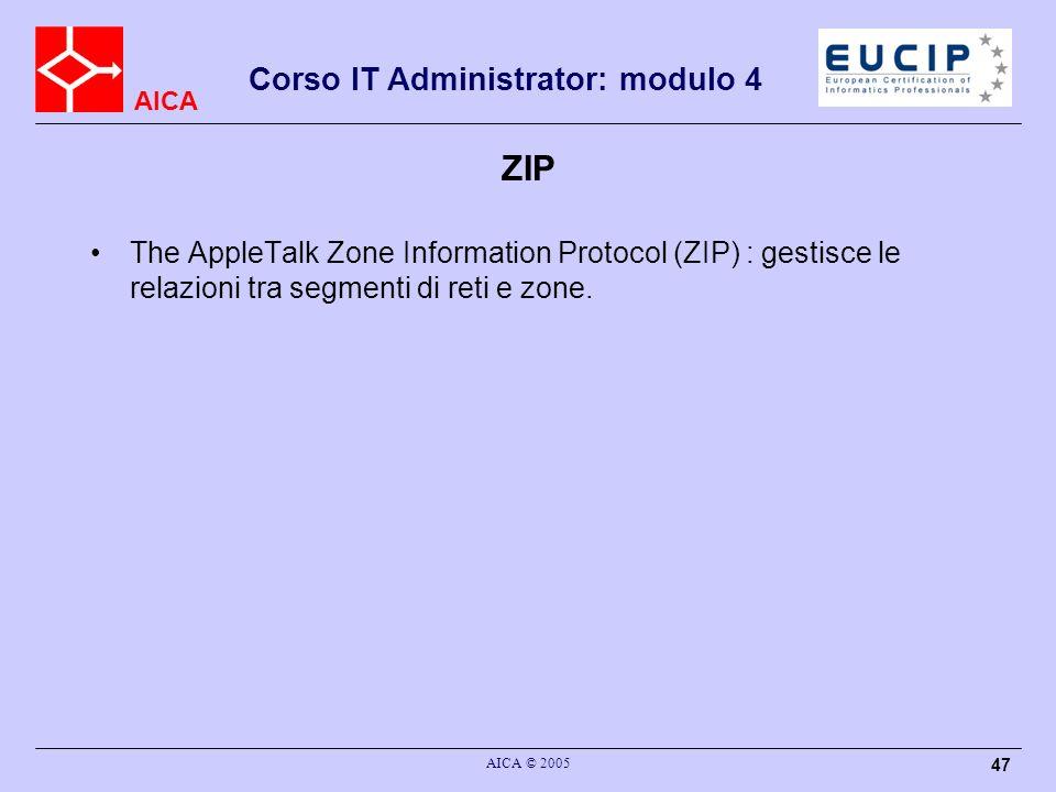 AICA Corso IT Administrator: modulo 4 AICA © 2005 48 ASP The AppleTalk Session Protocol (ASP) : gestione delle sessioni per livelli superiori.