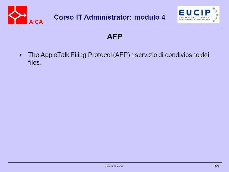 AICA Corso IT Administrator: modulo 4 AICA © 2005 52 Medium Access Protocols Ethernet,802.x IPX Spx RoutingInformationProtocol(RIP) ServiceAdvertisingProtocol(SAP) NetwareCoreProtocol(NCP) Archittettura Novell IPX/SPX