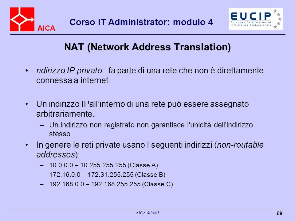 AICA Corso IT Administrator: modulo 4 AICA © 2005 60 Indirizzi Privati