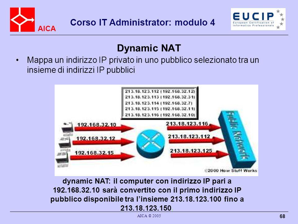 AICA Corso IT Administrator: modulo 4 AICA © 2005 69 Overloading un titpo di DNAT in cui più indirizzi IP privati sono mappati in un unico indirizzo IP pubblico utilizzando differenti porte.