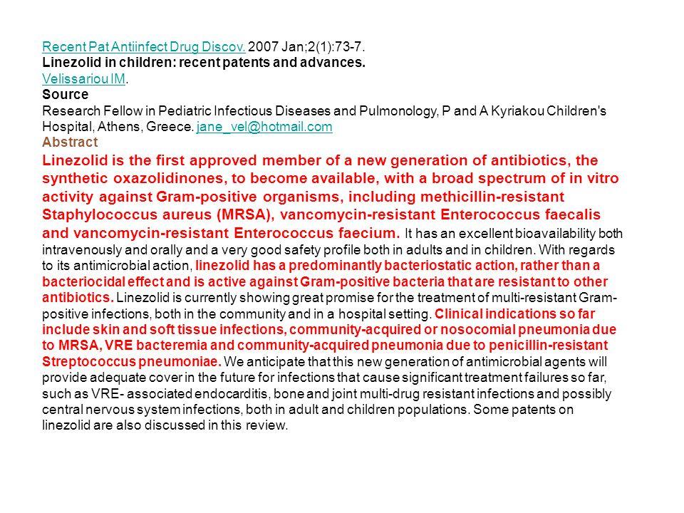 Recent Pat Antiinfect Drug Discov.Recent Pat Antiinfect Drug Discov.