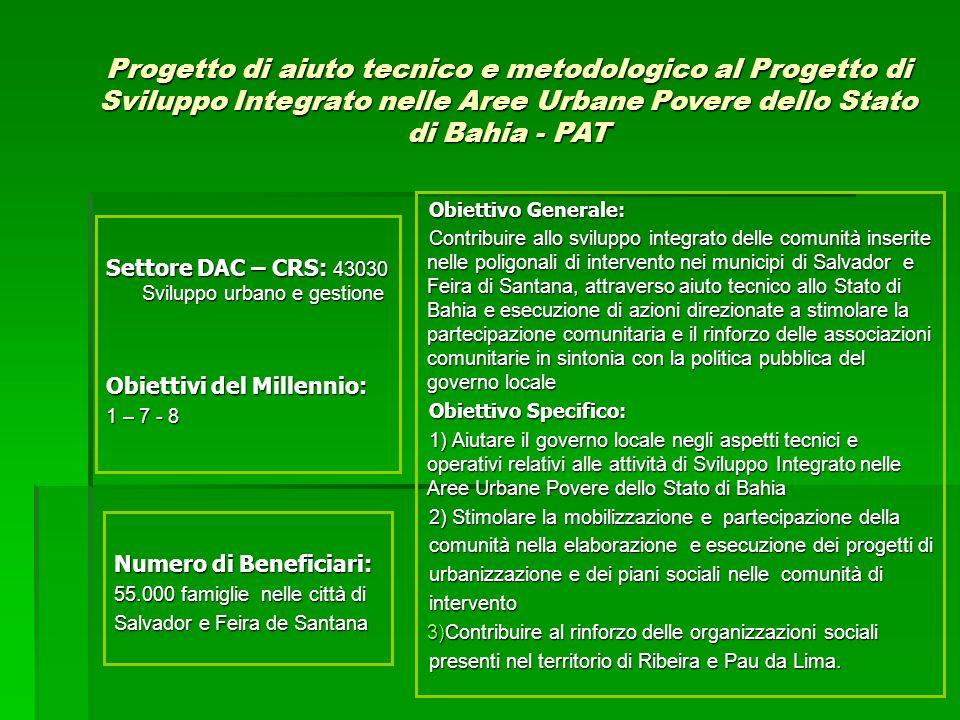 Attività 1.Assistenza tecnica e metodologica allo Stato di Bahia 2.Appoggio alla struttura di gestione e operativa territoriale del Progetto di Sviluppo Integrato nelle Aree Urbane Povere dello Stato di Bahia 3.