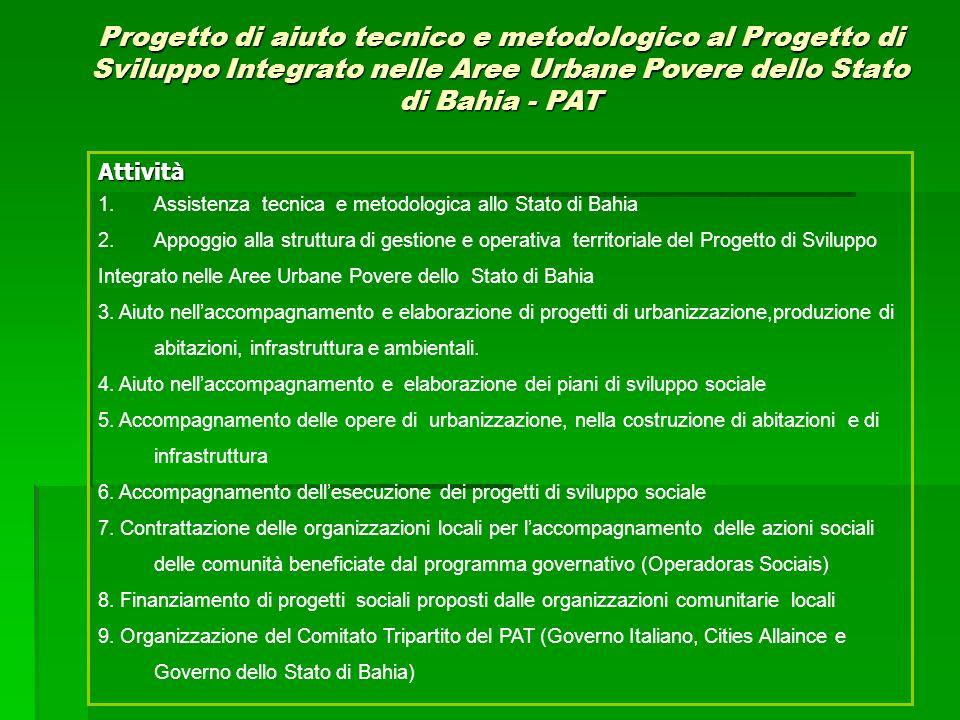Contesto: Il progetto attua nellambito del progetto governativo di Sviluppo Integrato nelle Aree Urbane Povere dello Stato di Bahia, finanziato dalla Banca Mondiale.