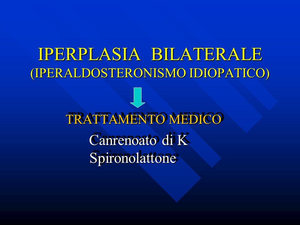 IPERPLASIA BILATERALE (IPERALDOSTERONISMO IDIOPATICO) TRATTAMENTO MEDICO TRATTAMENTO MEDICO Canrenoato di K Spironolattone Canrenoato di K Spironolatt