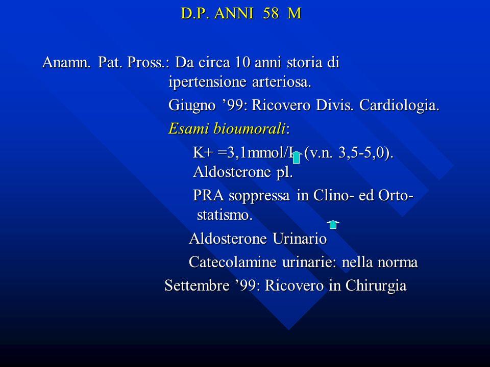 D.P. ANNI 58 M Anamn. Pat. Pross.: Da circa 10 anni storia di ipertensione arteriosa. Giugno 99: Ricovero Divis. Cardiologia. Giugno 99: Ricovero Divi