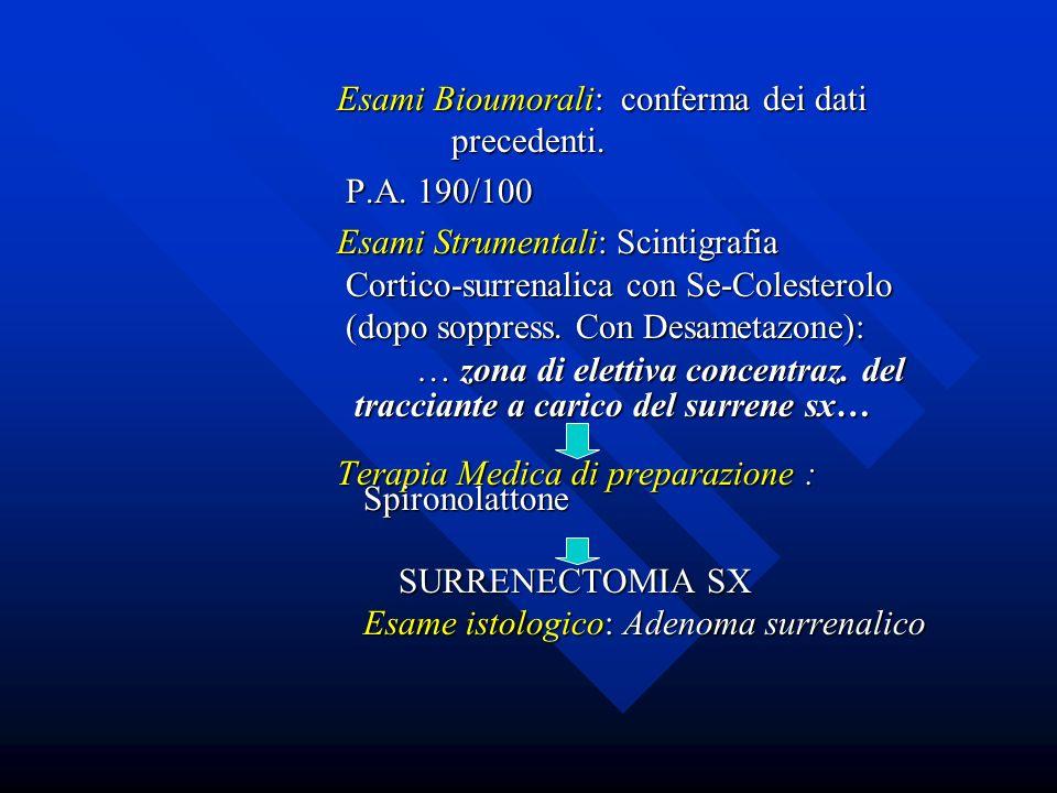 Esami Bioumorali: conferma dei dati precedenti. Esami Bioumorali: conferma dei dati precedenti. P.A. 190/100 P.A. 190/100 Esami Strumentali: Scintigra