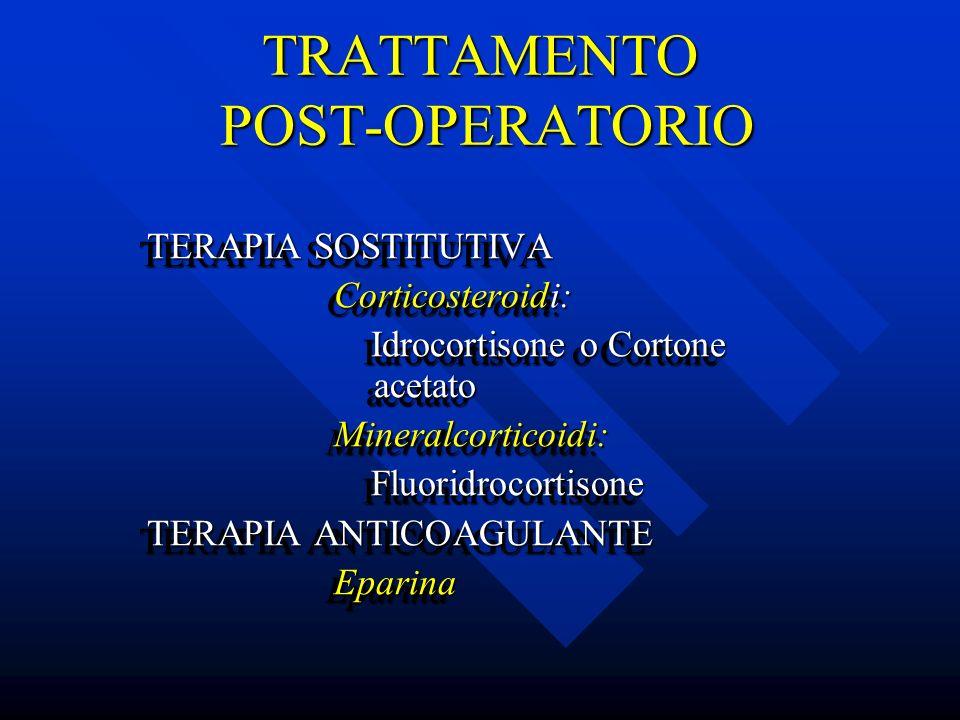 TRATTAMENTO POST-OPERATORIO TERAPIA SOSTITUTIVA TERAPIA SOSTITUTIVA Corticosteroidi: Corticosteroidi: Idrocortisone o Cortone acetato Idrocortisone o