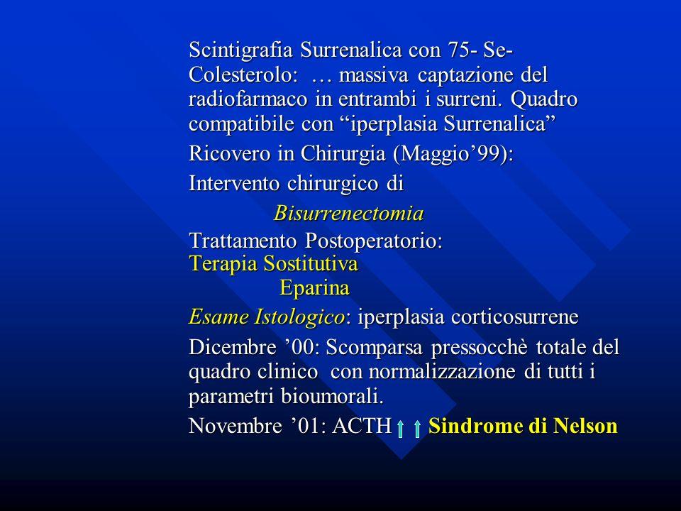 Scintigrafia Surrenalica con 75- Se- Colesterolo: … massiva captazione del radiofarmaco in entrambi i surreni. Quadro compatibile con iperplasia Surre