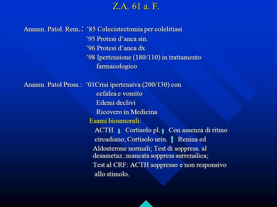 Z.A. 61 a. F. Anamn. Patol. Rem.: 85 Colecistectomia per colelitiasi 95 Protesi danca sin. 95 Protesi danca sin. 96 Protesi danca dx 96 Protesi danca