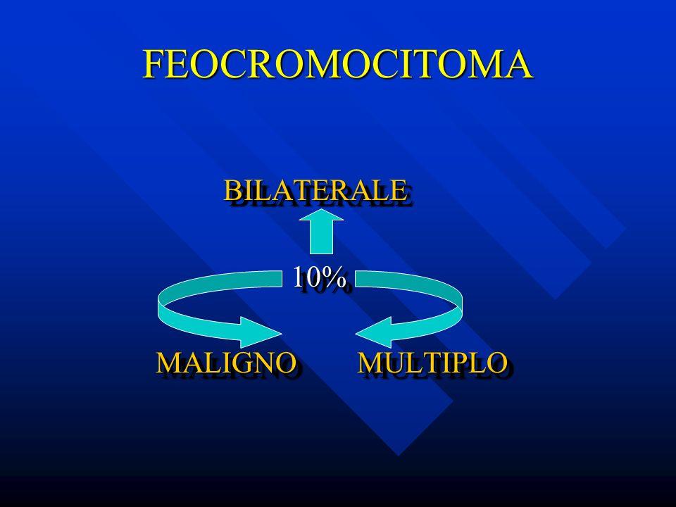 FEOCROMOCITOMA BILATERALE BILATERALE 10% 10% MALIGNO MULTIPLO MALIGNO MULTIPLO BILATERALE BILATERALE 10% 10% MALIGNO MULTIPLO MALIGNO MULTIPLO