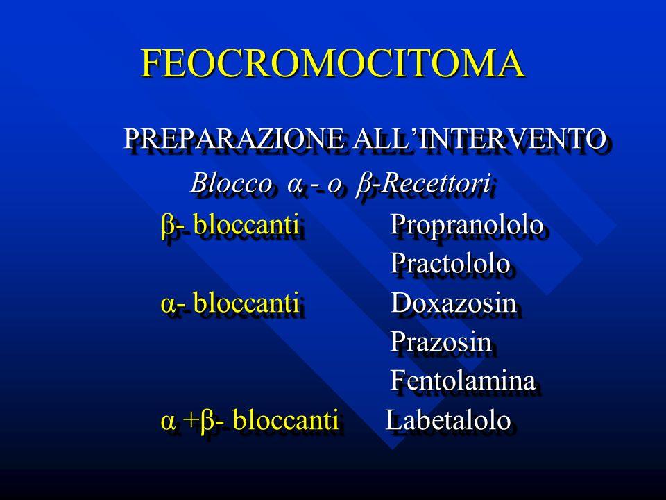 FEOCROMOCITOMA PREPARAZIONE ALLINTERVENTO PREPARAZIONE ALLINTERVENTO Blocco α - o β-Recettori Blocco α - o β-Recettori β- bloccanti Propranololo β- bl