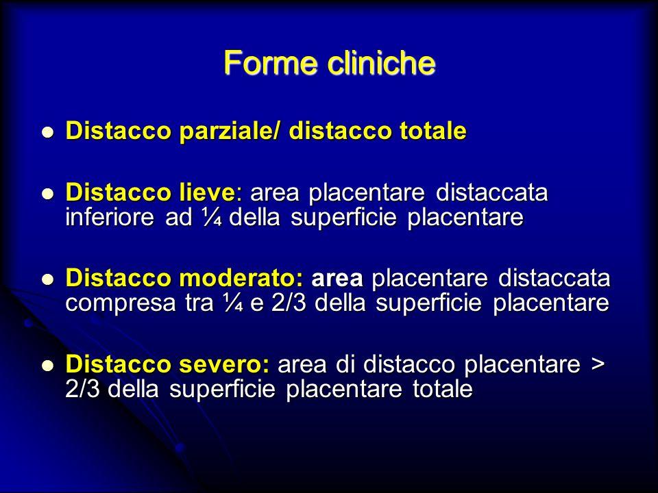 Forme cliniche Distacco parziale/ distacco totale Distacco parziale/ distacco totale Distacco lieve: area placentare distaccata inferiore ad ¼ della s