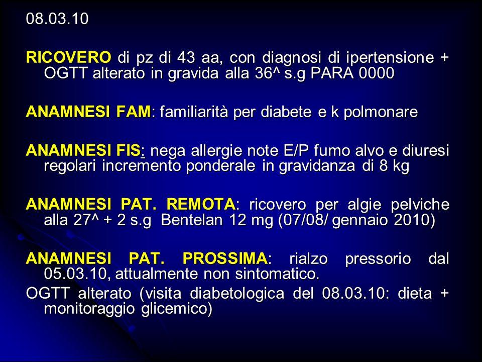 TV 17.02.2010: positivo per streptococco agalactiae TV 17.02.2010: positivo per streptococco agalactiae OGCT 03.12.09: alterato a 60 (143 mg/dl) OGCT 03.12.09: alterato a 60 (143 mg/dl) OGTT 23.02.10: alterato a 60 (250 mg/dl) e a 120 (226 mg/dl) OGTT 23.02.10: alterato a 60 (250 mg/dl) e a 120 (226 mg/dl) ECO 08.09.09: EA 10 + 2 s.g CRL 43.6 mm (11 s.g) si segnala mioma intramurale a carico della parete posteriore di 50 mm ECO 08.09.09: EA 10 + 2 s.g CRL 43.6 mm (11 s.g) si segnala mioma intramurale a carico della parete posteriore di 50 mm ECO 17.11.09: EA 20 +2 s.g biometria corrispondente, morfologia regolare LA regolare placenta posteriore ECO 17.11.09: EA 20 +2 s.g biometria corrispondente, morfologia regolare LA regolare placenta posteriore ECO 23.02.10: EA 34 +2 biometria corrispondente, LA regolare, placenta posteriore, PP cefalica.