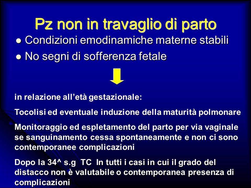 Pz non in travaglio di parto Condizioni emodinamiche materne stabili Condizioni emodinamiche materne stabili No segni di sofferenza fetale No segni di