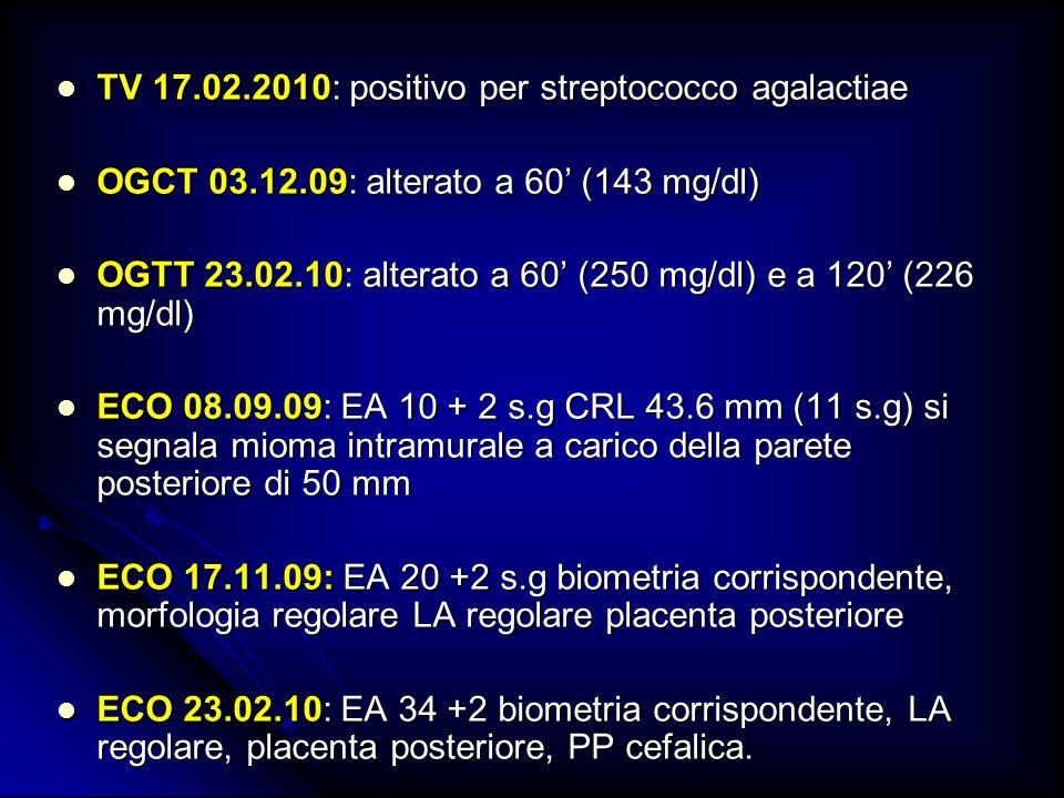 TV 17.02.2010: positivo per streptococco agalactiae TV 17.02.2010: positivo per streptococco agalactiae OGCT 03.12.09: alterato a 60 (143 mg/dl) OGCT