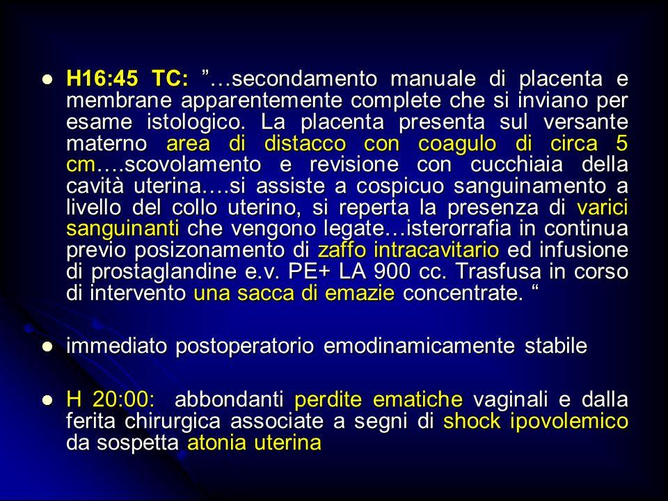 H16:45 TC: …secondamento manuale di placenta e membrane apparentemente complete che si inviano per esame istologico. La placenta presenta sul versante