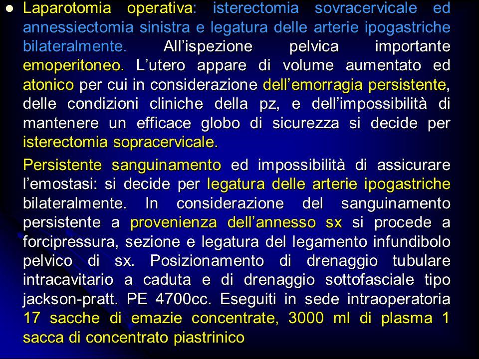 Laparotomia operativa: isterectomia sovracervicale ed annessiectomia sinistra e legatura delle arterie ipogastriche bilateralmente. Allispezione pelvi