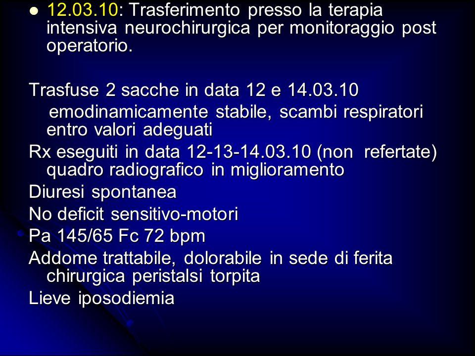 14.03.10: rientro presso il reparto della clinica ginecologica/ostetrica in osservazione 14.03.10: rientro presso il reparto della clinica ginecologica/ostetrica in osservazione In terapia: In terapia: Tazocin 4.5 g 1 fl x4/die Tazocin 4.5 g 1 fl x4/die Areosol con 1 fl fluimucil x2/die Areosol con 1 fl fluimucil x2/die Fragmin s.c 5000 UI/die Fragmin s.c 5000 UI/die Dostinex cp 1/2 in data 15 e 16.03/10 Dostinex cp 1/2 in data 15 e 16.03/10 18.03.10: Trasferimento presso il puerperio della clinica.