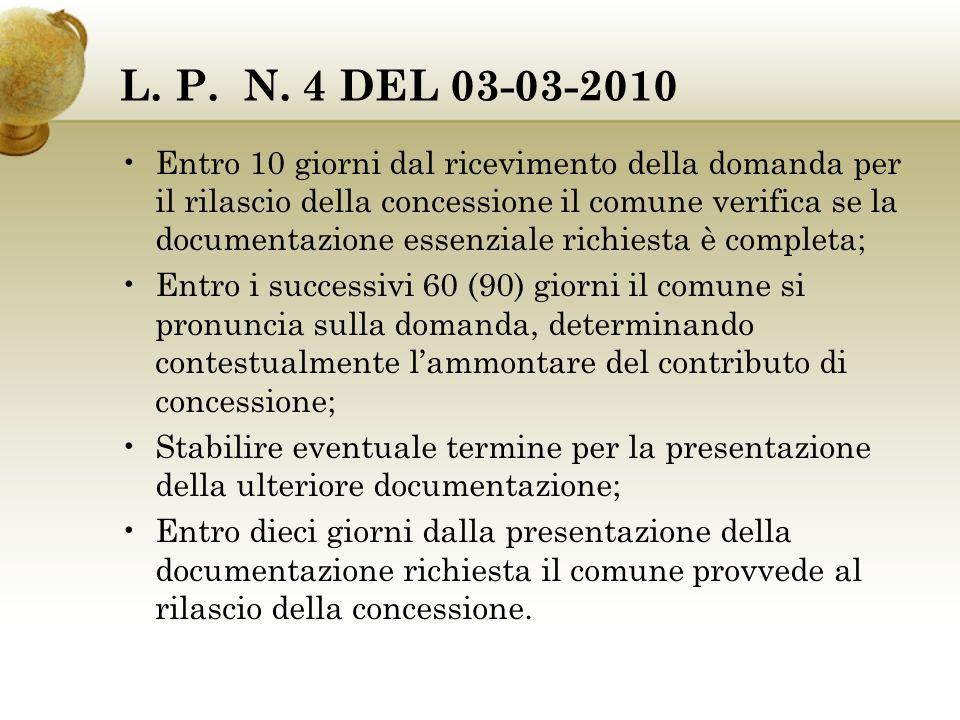 L. P. N. 4 DEL 03-03-2010 Entro 10 giorni dal ricevimento della domanda per il rilascio della concessione il comune verifica se la documentazione esse