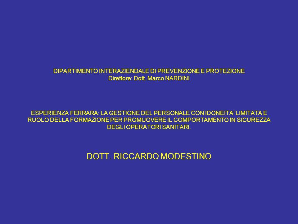 DIPARTIMENTO INTERAZIENDALE DI PREVENZIONE E PROTEZIONE Direttore: Dott. Marco NARDINI ESPERIENZA FERRARA: LA GESTIONE DEL PERSONALE CON IDONEITA LIMI
