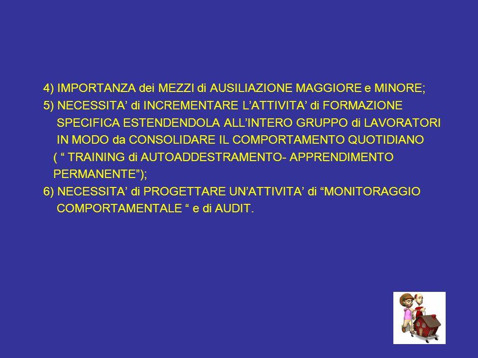 4) IMPORTANZA dei MEZZI di AUSILIAZIONE MAGGIORE e MINORE; 5) NECESSITA di INCREMENTARE LATTIVITA di FORMAZIONE SPECIFICA ESTENDENDOLA ALLINTERO GRUPP