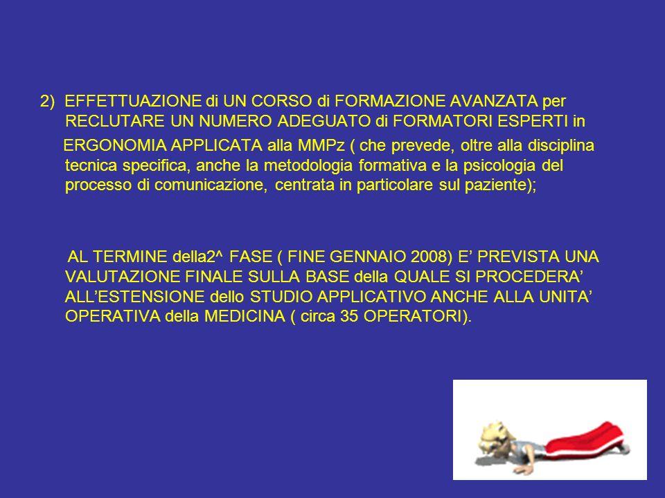 2) EFFETTUAZIONE di UN CORSO di FORMAZIONE AVANZATA per RECLUTARE UN NUMERO ADEGUATO di FORMATORI ESPERTI in ERGONOMIA APPLICATA alla MMPz ( che preve