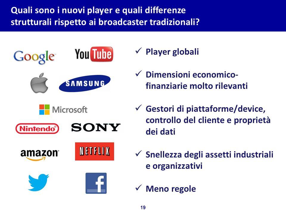 19 Bozza per discussione Quali sono i nuovi player e quali differenze strutturali rispetto ai broadcaster tradizionali? Player globali Dimensioni econ