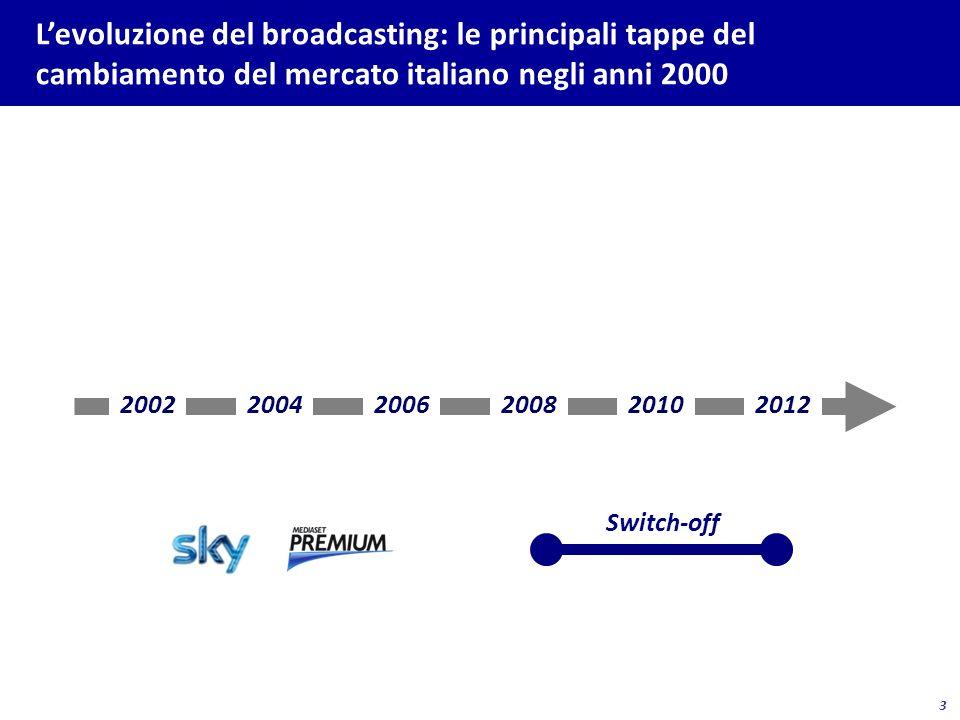 24 Gli effetti della crisi si sentono anche nel settore della pay tv con il rallentamento, se non con la fine, della crescita dei ricavi Elaborazioni e stime su dati operatori.