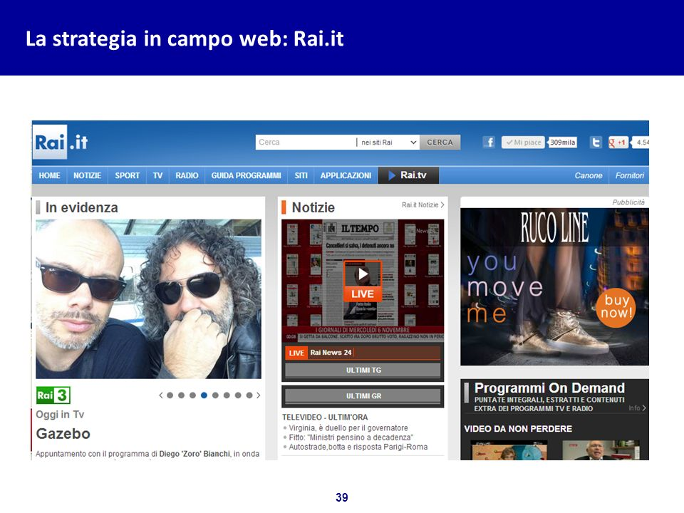 39 Bozza per discussione La strategia in campo web: Rai.it