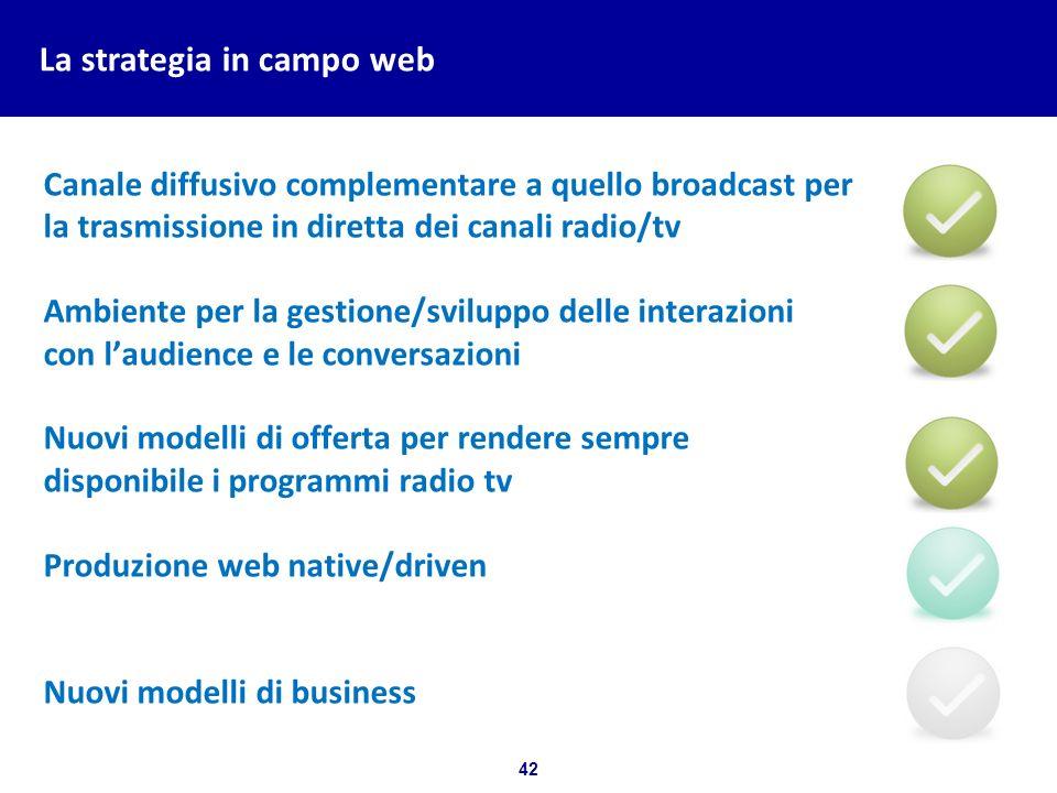 42 Bozza per discussione La strategia in campo web Canale diffusivo complementare a quello broadcast per la trasmissione in diretta dei canali radio/t