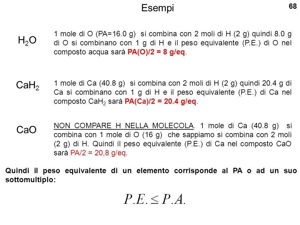Esempi H2OH2O 1 mole di O (PA=16.0 g) si combina con 2 moli di H (2 g) quindi 8.0 g di O si combinano con 1 g di H e il peso equivalente (P.E.) di O nel composto acqua sarà PA(O)/2 = 8 g/eq.