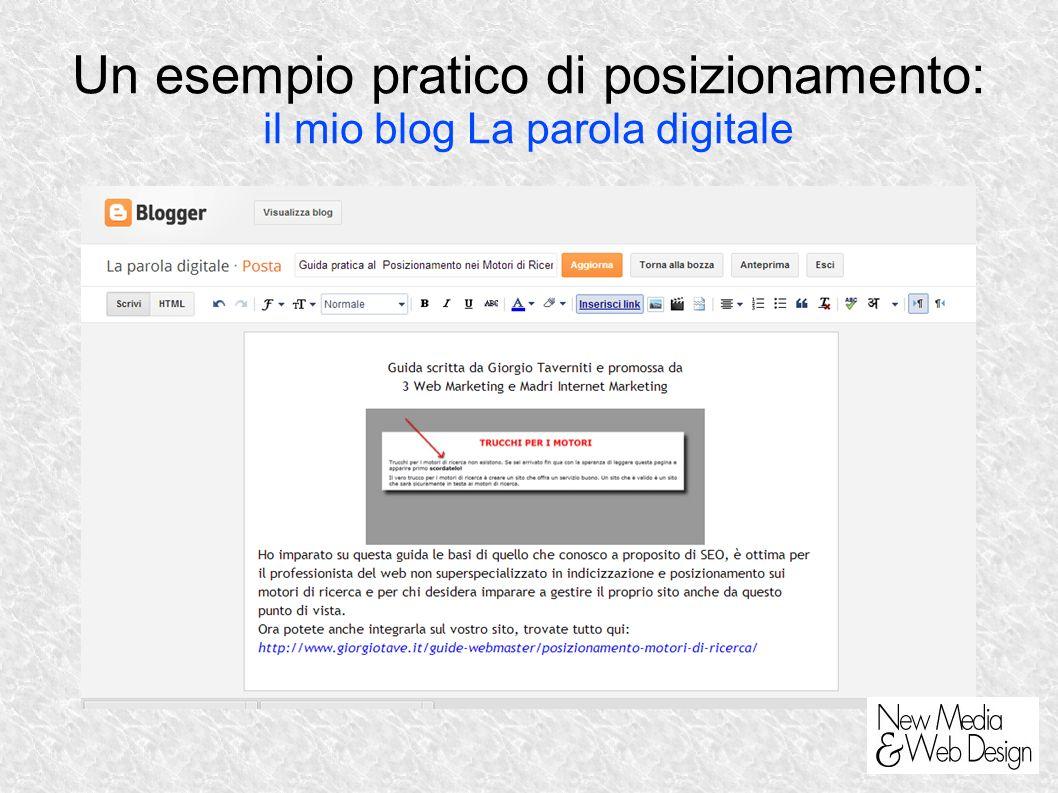 Un esempio pratico di posizionamento: il mio blog La parola digitale
