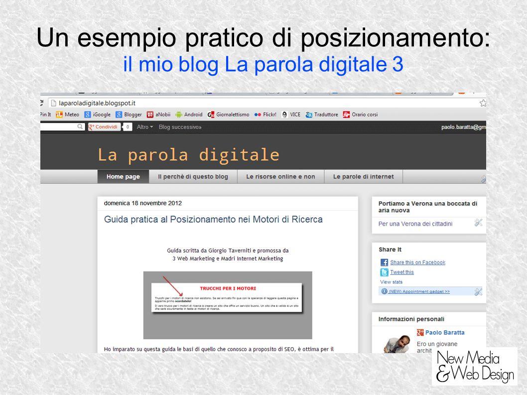 Un esempio pratico di posizionamento: il mio blog La parola digitale 3