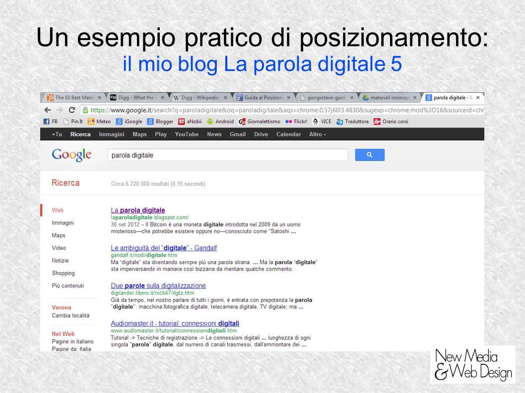 Un esempio pratico di posizionamento: il mio blog La parola digitale 5